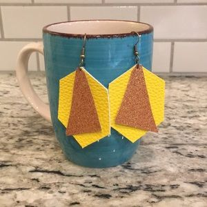 Yellow/gold leather earrings